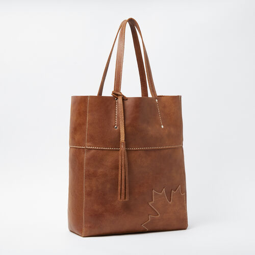 Roots-Leather Totes-Trans Canada French Tote Tribe-Natural-A