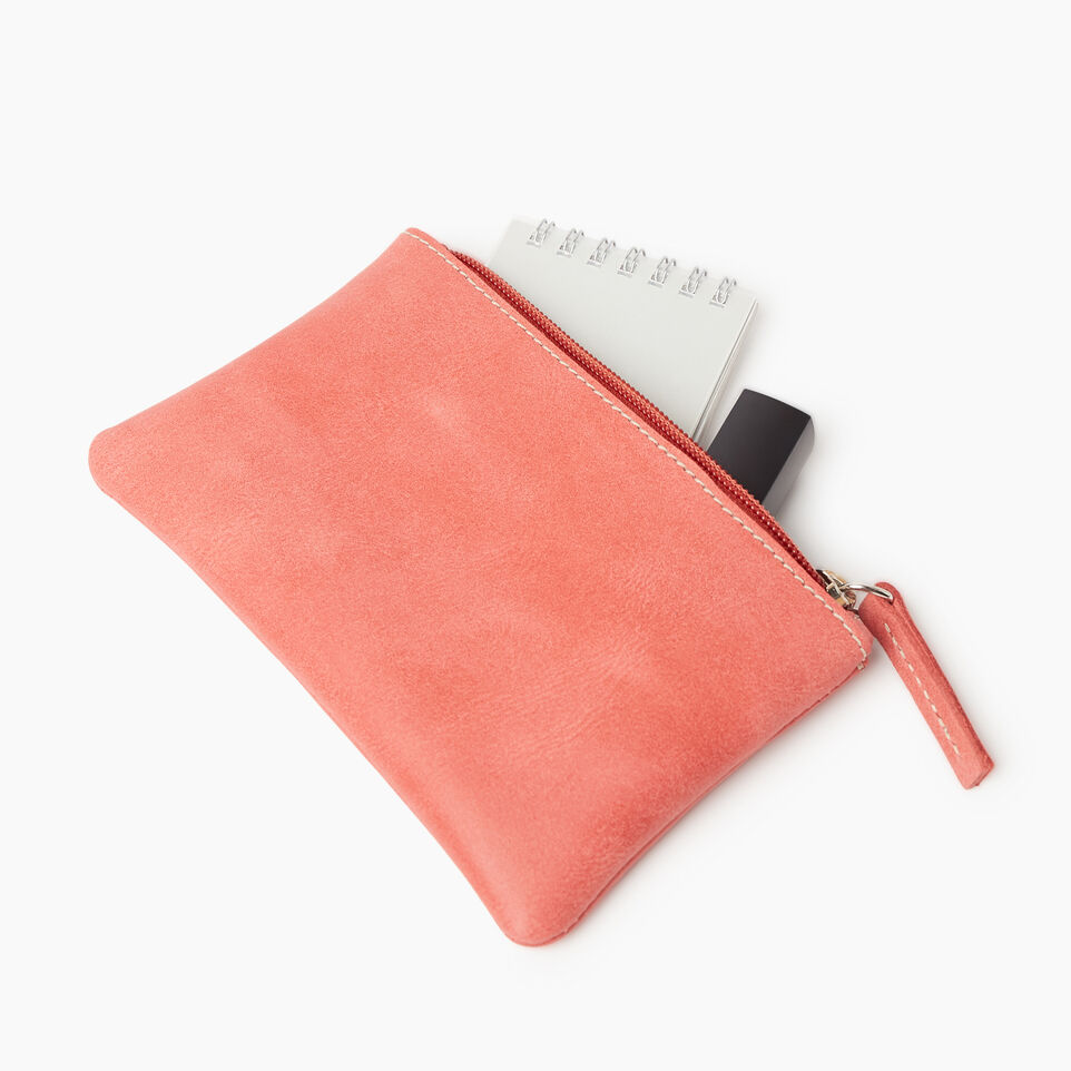 Roots-Leather New Arrivals-Medium Zip Pouch-Coral-C