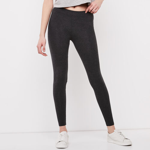 Roots-Women Leggings-Essential Legging-Charcoal Mix-A