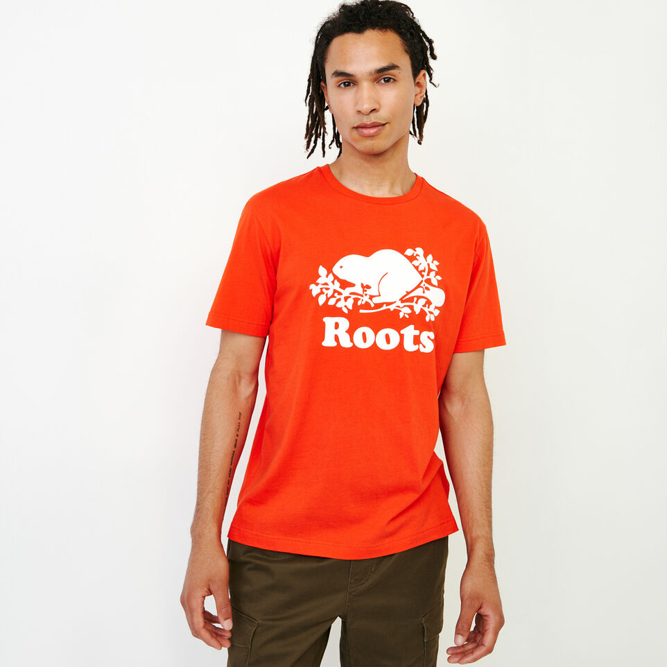 Roots-New For July Men-Mens Cooper Beaver T-shirt-Spicy Orange-C