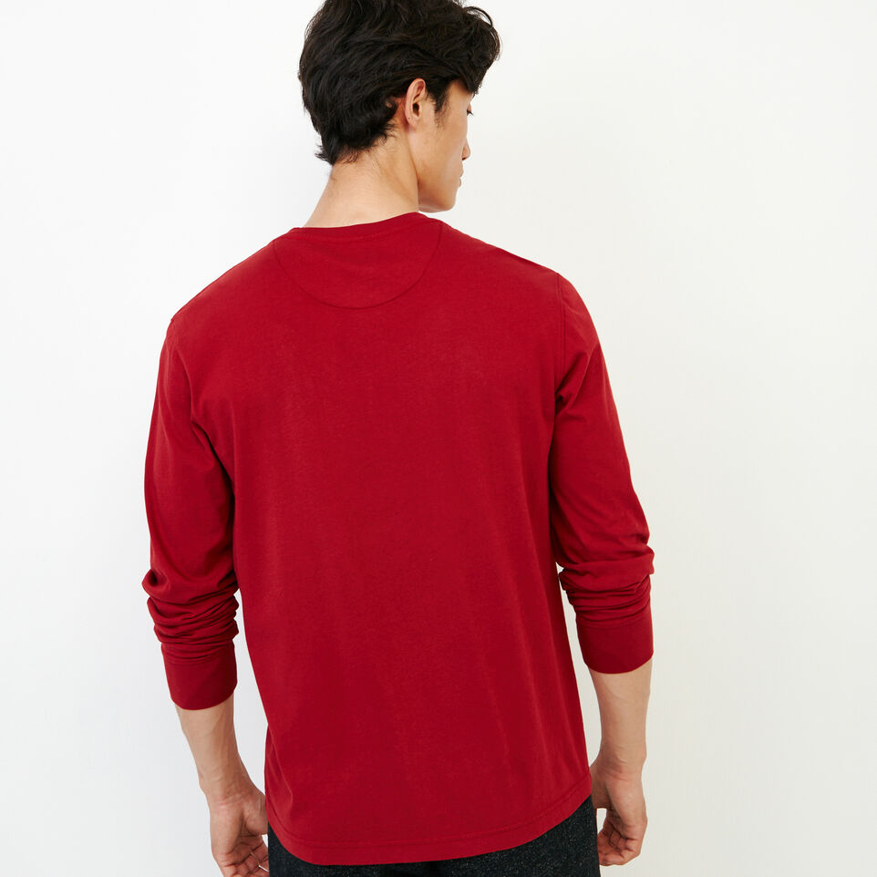 Roots-Men New Arrivals-Essential Pocket Longsleeve T-shirt-Sundried Tomato-D