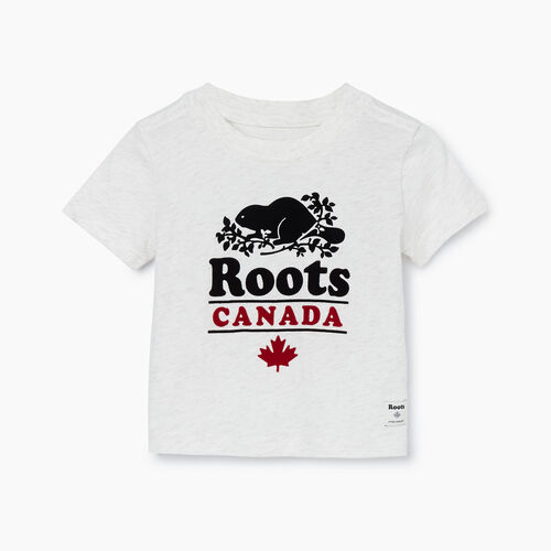 Roots-Kids T-shirts-Baby Roots Canada T-shirt-Ivory Mix-A