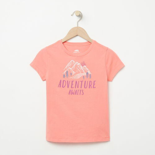 Roots-Kids Graphic T-shirts-Girls Open Air T-shirt-Shell Pink-A