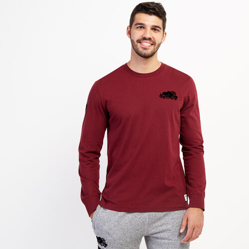 Roots-Men Graphic T-shirts-Mens Cooper Remix Long Sleeve T-shirt-Mulberry-A