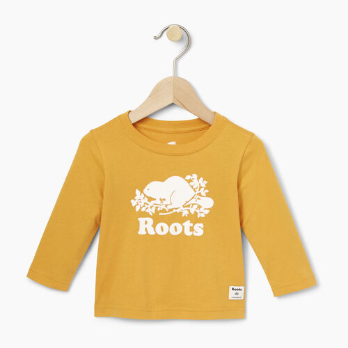 Roots-Clearance Kids-Baby Original Cooper Beaver T-shirt-Squash Yellow-A