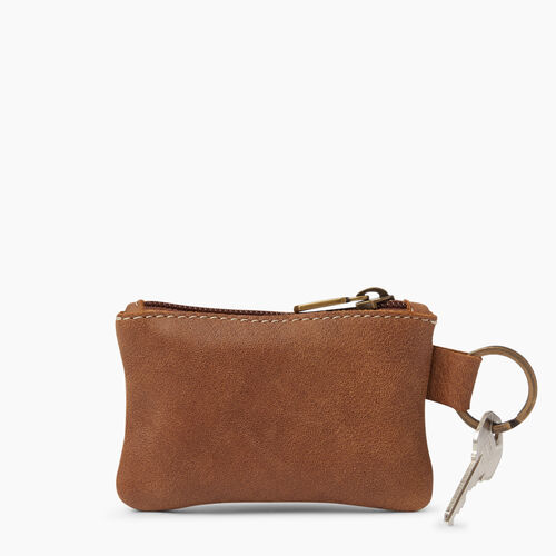 Roots-Leather  Handcrafted By Us Leather Accessories-Top Zip Key Pouch-Natural-A