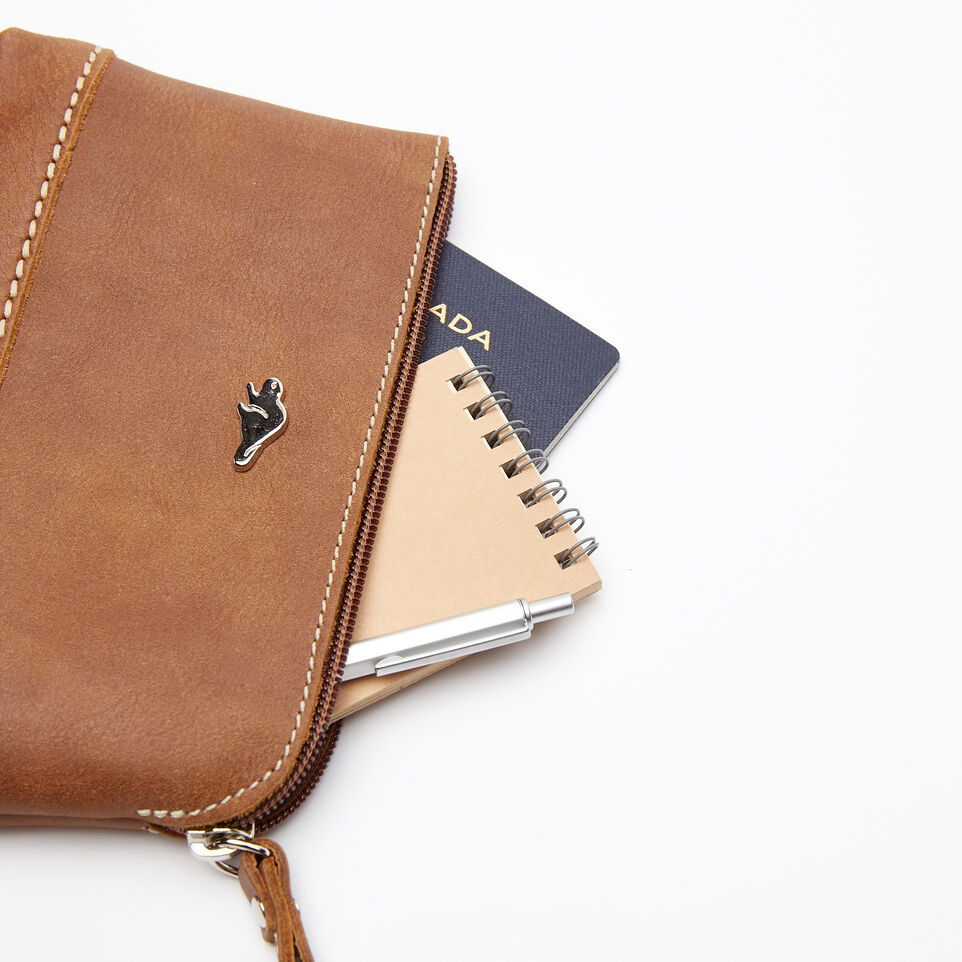 Roots-Women Leather Accessories-Funky Zip Pouch-Natural-B