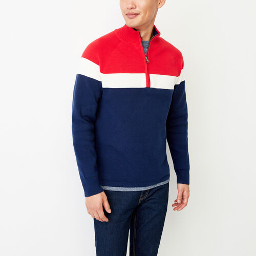 Roots-Men Categories-Pemberton 1/4 Zip Sweater-Racing Red-A