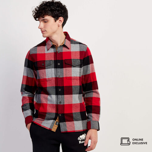 Roots-Men New Arrivals-Park Oversized Plaid Shirt-Cabin Red-A