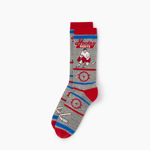 Roots-Clearance Men-Mens Hockey Boot Sock-Red-A