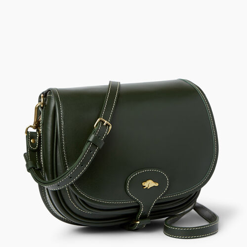 Roots-Women Bags-Medium English Saddle Heritage-Hunter Green-A