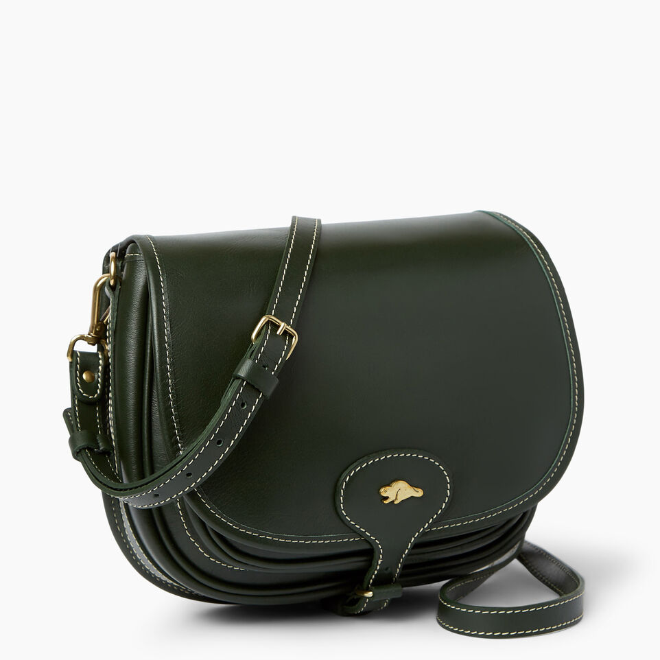 Roots-Leather  Handcrafted By Us Handbags-Medium English Saddle Heritage-Hunter Green-A