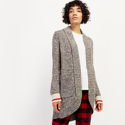 Roots-Women Sweaters & Cardigans-Roots Cotton Cabin Cardigan-Grey Oat Mix-A
