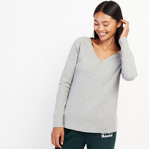 Roots-Women Long Sleeve Tops-Kinuso Henley Top-Grey Mix-A
