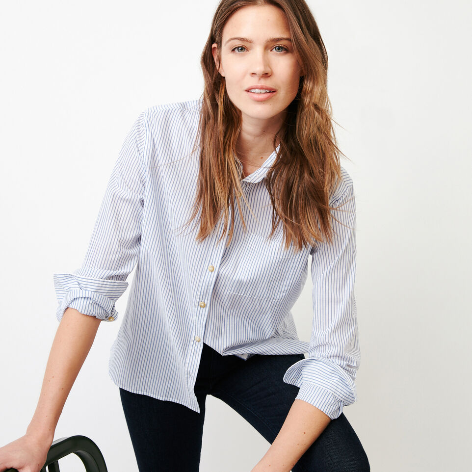 Roots-Women Categories-Relaxed Striped Shirt-Blue Bonnet-A