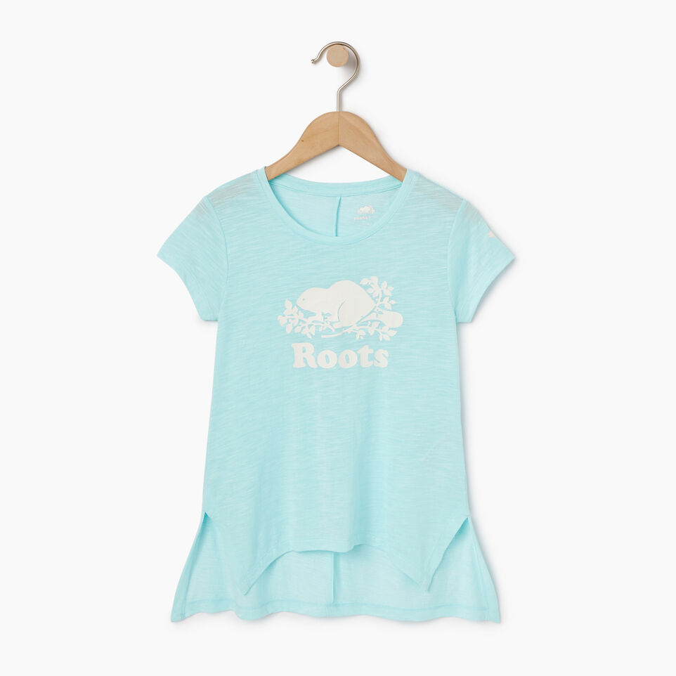 Roots-New For May Kids-Girls Lola Active Swing T-shirt-Aruba Blue-A