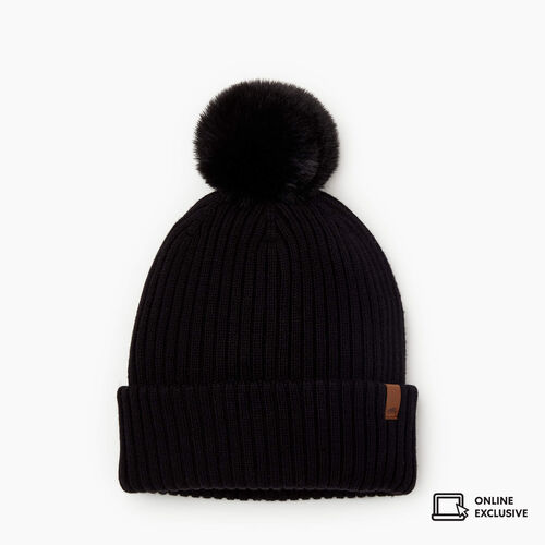 Roots-New For November Online Exclusives-Juneau Pom Pom Toque-Black-A