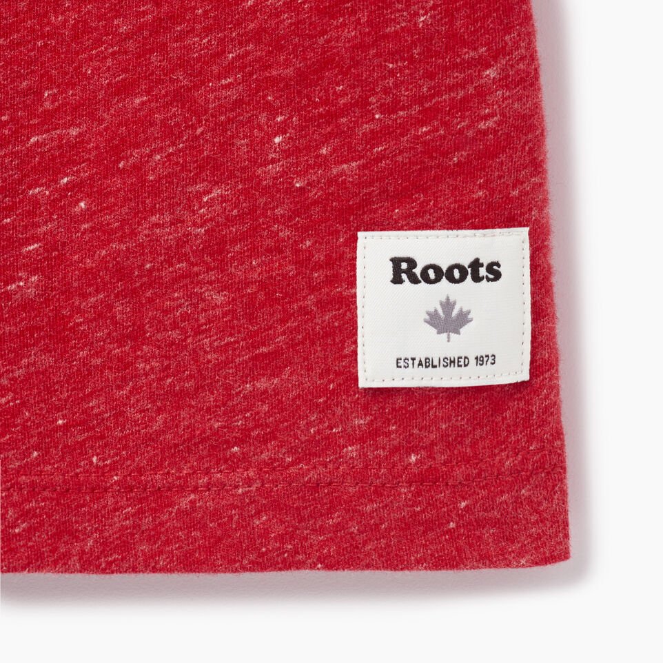 Roots-Women Graphic T-shirts-Womens Roots Ringer T-shirt-Sage Red Mix-C