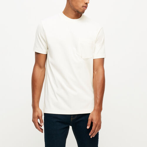 Roots-Winter Sale Tops-7 Oz Jersey Pocket T-shirt-Pristine White-A