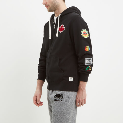 Roots-Men New Arrivals-Patches Full Zip Hoody-Black-A