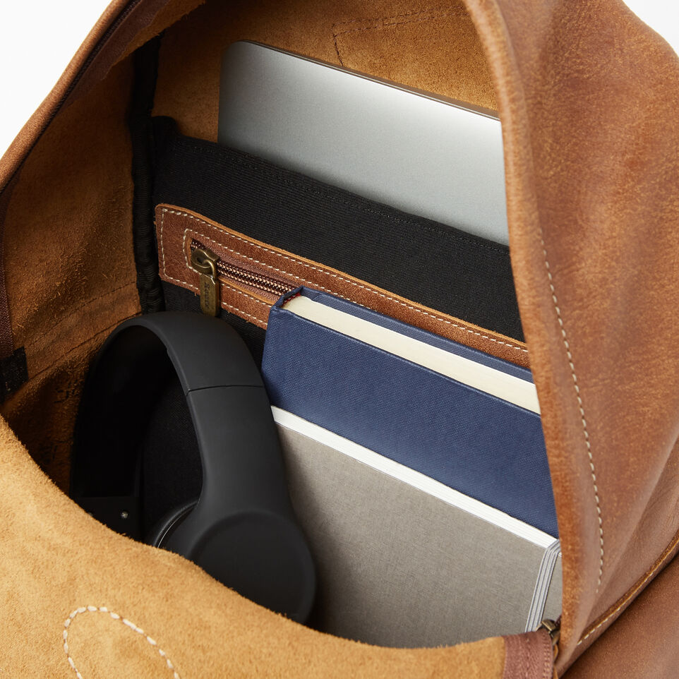 Roots-Leather Backpacks-Central Pack-Natural-E