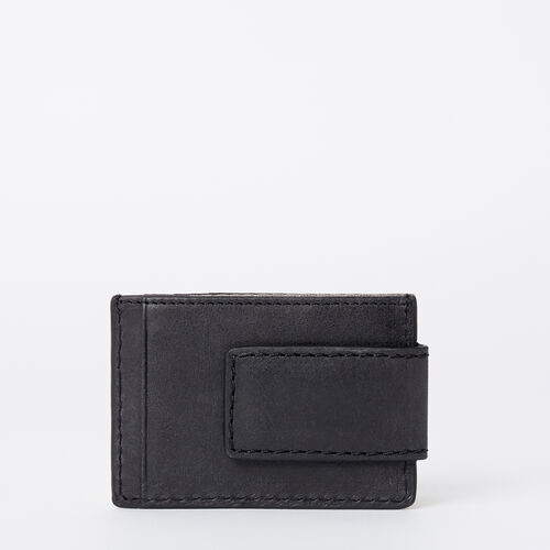 Roots-Men Wallets-Mens Money Clip Wallet Tribe-Jet Black-A
