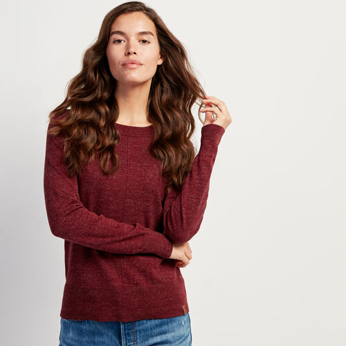 Roots-Women Sweaters & Cardigans-All Seasons Crew Sweater-Crimson Mix-A