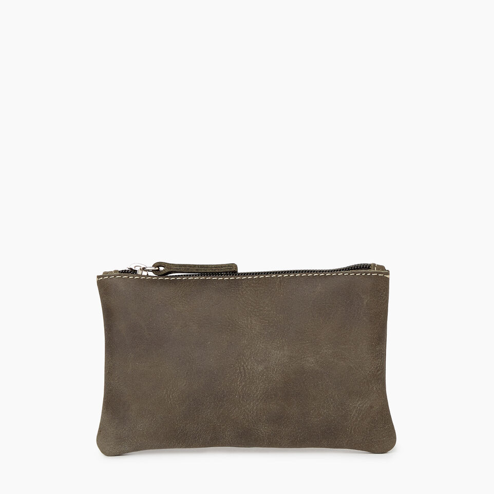 Roots-Leather Categories-Medium Zip Pouch-Pine-A