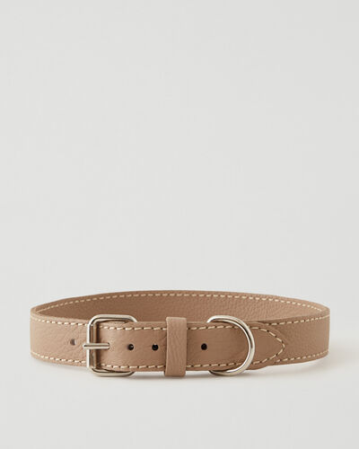 Roots-Leather Dog Accessories-Extra Large Leather Dog Collar Parisian-Latté-A