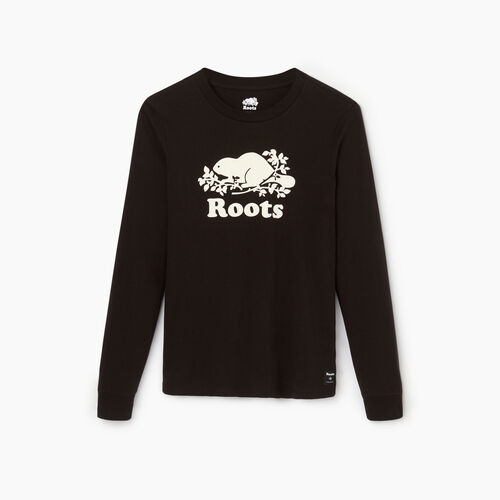 Roots-Women Categories-Womens Cooper Beaver Long Sleeve T-shirt-Black-A