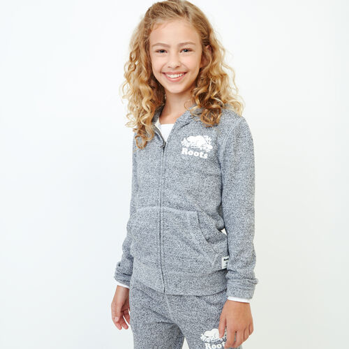 Roots-Kids Tops-Girls Original Full Zip Hoody-Salt & Pepper-A