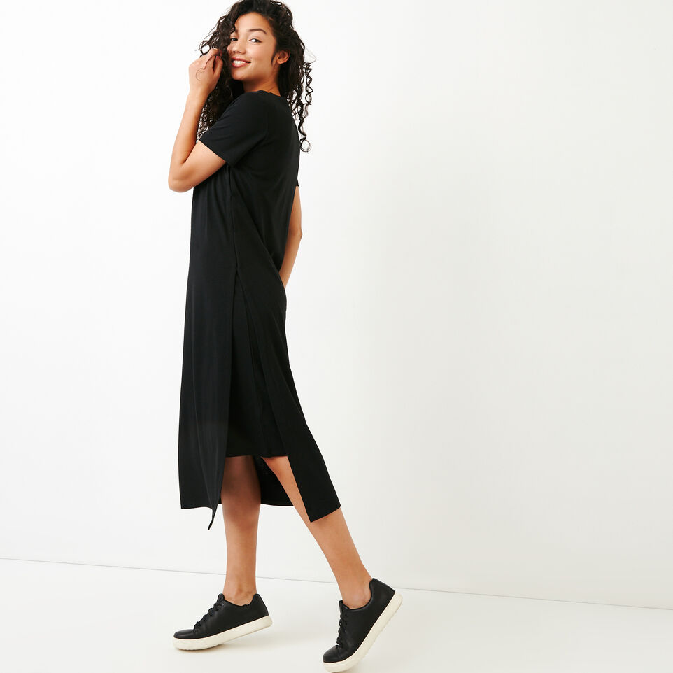 Roots-Women Categories-Rossland Slit Dress-Black-C