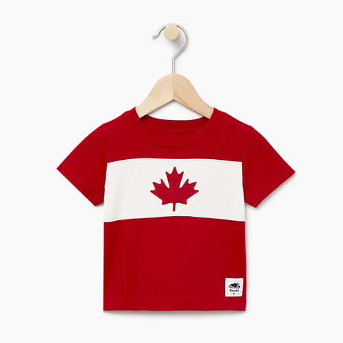 Roots-Kids Canada Collection-Baby Blazon T-shirt-Sage Red-A