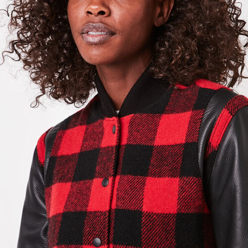 Roots-Leather Women's Leather Jackets-Dakota Jacket Buffalo Plaid-Red-A