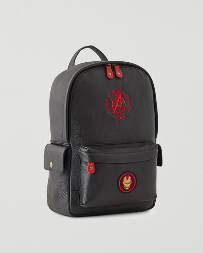 Roots-Leather Backpacks-Avengers Iron Man Central Pack-Black-A