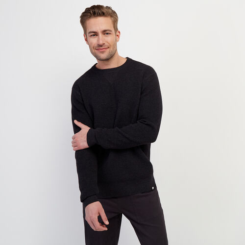 Roots-Men New Arrivals-Journey Sweater Crew-Black Mix-A