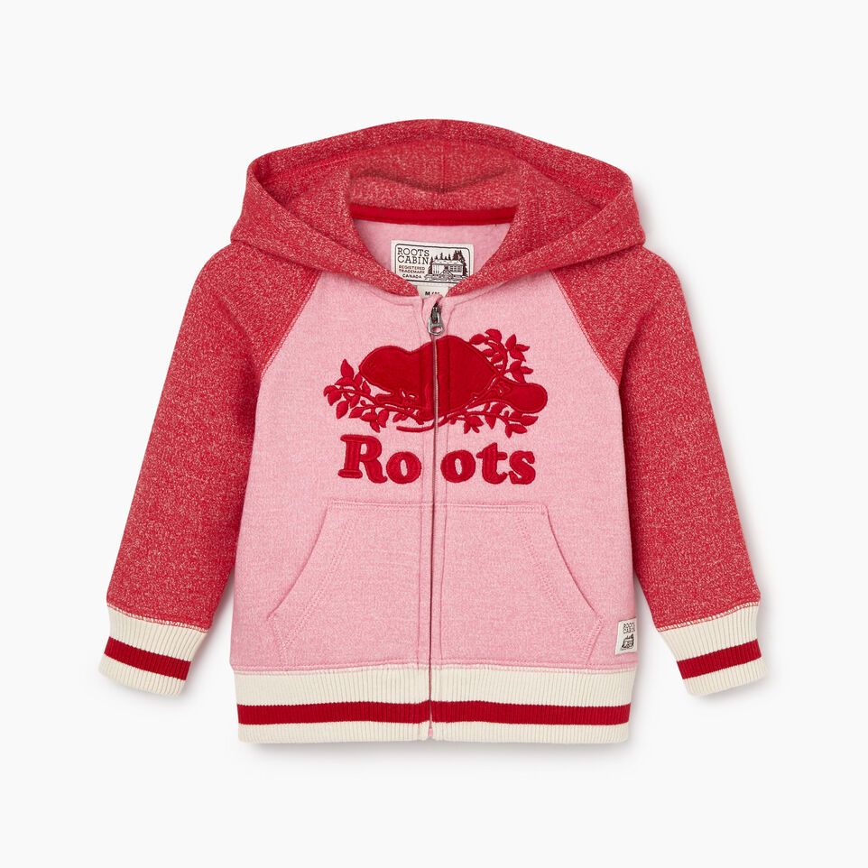 Roots-Sale Kids-Baby Roots Cabin Cozy Zip Hoody-Cashmere Rose Pepper-A