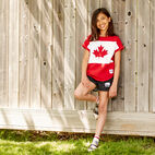 Roots-Kids Canada Collection-Girls Blazon T-shirt-Sage Red-E