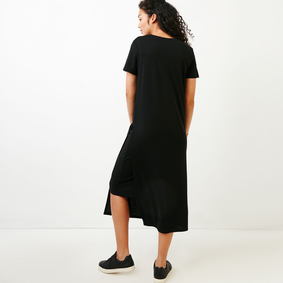 Roots-Women Categories-Rossland Slit Dress-Black-E