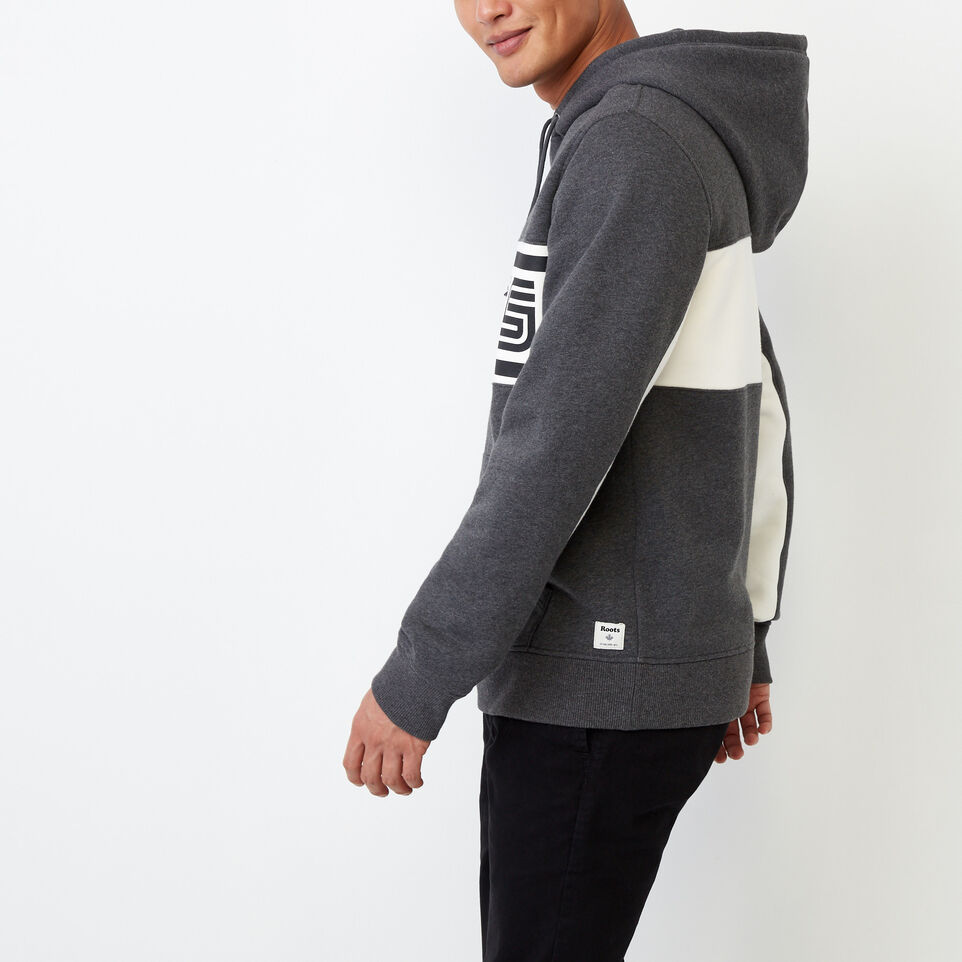Roots-Clearance Men-Ribbon Kanga Hoody-Charcoal Mix-C