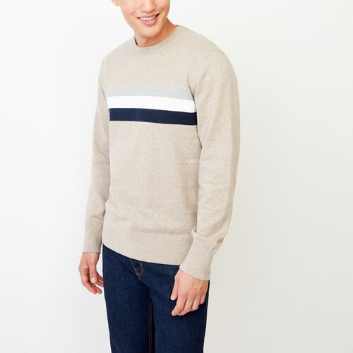 Roots-Men Sweaters & Cardigans-Var-city Striped Crewneck Sweater-Flaxseed Mix-A
