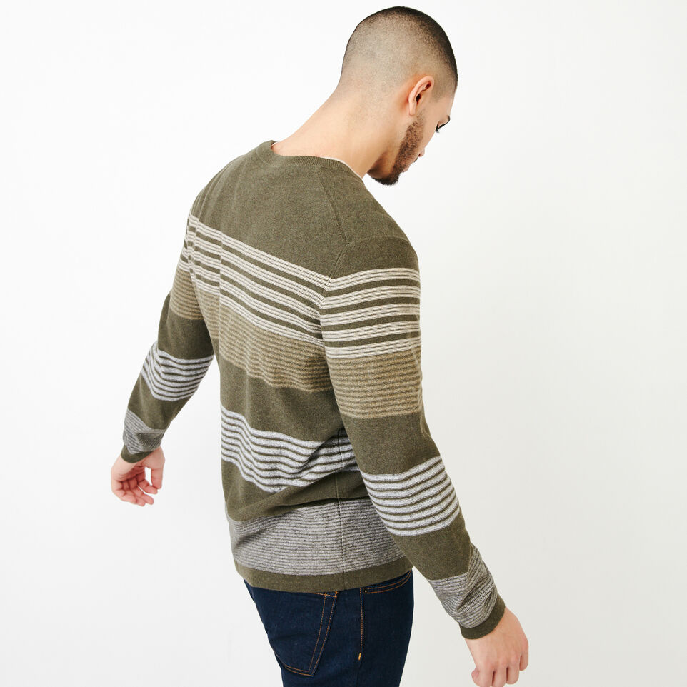 Roots-Men Our Favourite New Arrivals-Canoe Lake Stripe Crew Sweater-Fatigue Mix-C
