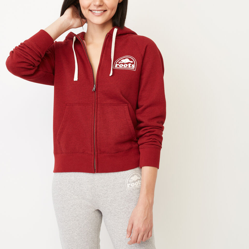 Roots-Clearance Women-Roots Vault Full Zip Hoody-Cabin Red Mix-A