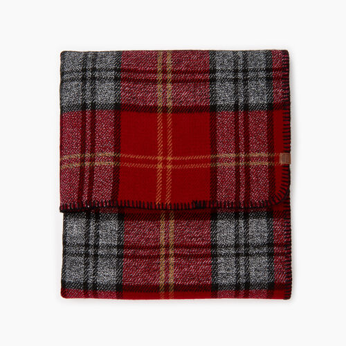 Roots-Women Our Favourite New Arrivals-Smoke Lake Plaid Blanket Scarf-Red-A