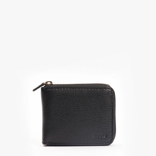 Roots-Leather Men's Wallets-Mens Zip Around Prince-Black-A