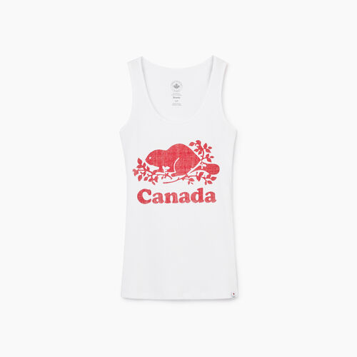 Roots-New For May Canada Collection By Roots™-Cooper Canada Rib Tank-Crisp White-A