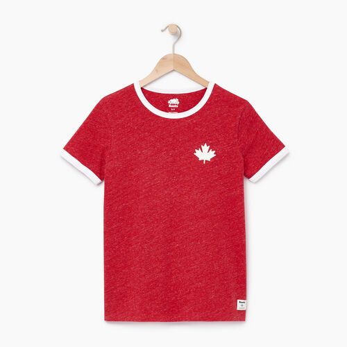 Roots-Women Graphic T-shirts-Womens Canada Ringer T-shirt-Sage Red Mix-A