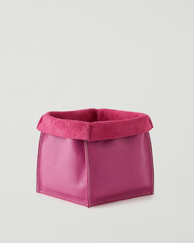 Roots-Leather Leather Accessories-Large Leather Basket Cervino-Pink Orchid-A