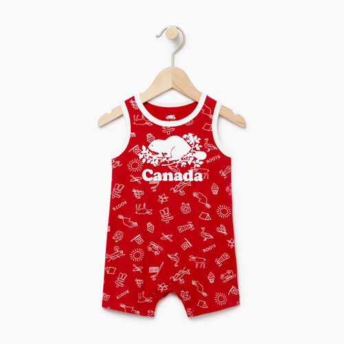 Roots-Clearance Kids-Baby Canada Aop Romper-Sage Red-A