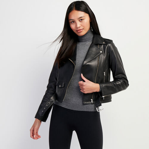 Roots-Leather Leather Jackets-Womens Moto 2.0 Plonge-Black-A